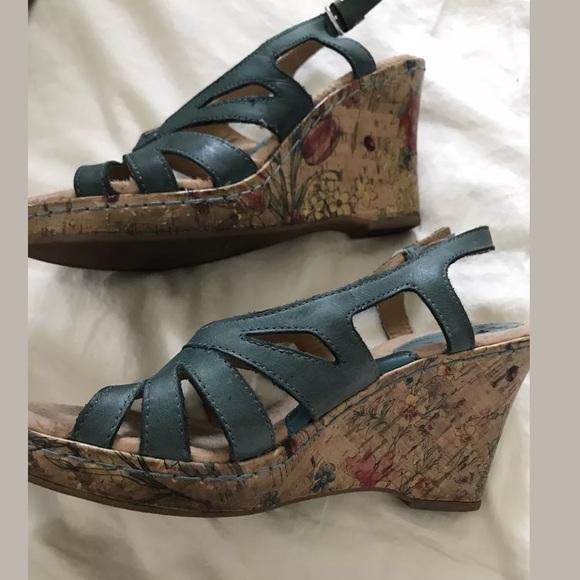 01dc63ab778d Born Shoes - Born teal wedge sling back sandal 7 MUST GO